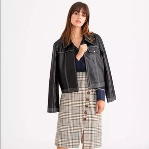 Petite studio Topstitched leather jacket